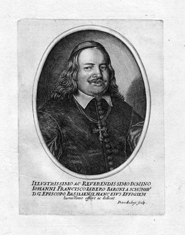 Ca. 1650 Johann Franz von Schönau Portrait Kupferstich antique print Aubry