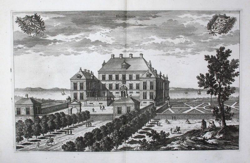 1710 - Hässelbyholm slott Strangnäs Södermanland Kupferstich Dahlberg engraving