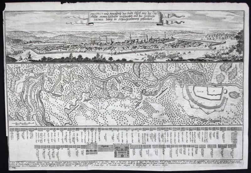 Ca. 1660 Osijek Croatia Kroatien map Kupferstich Merian engraving carte gravure