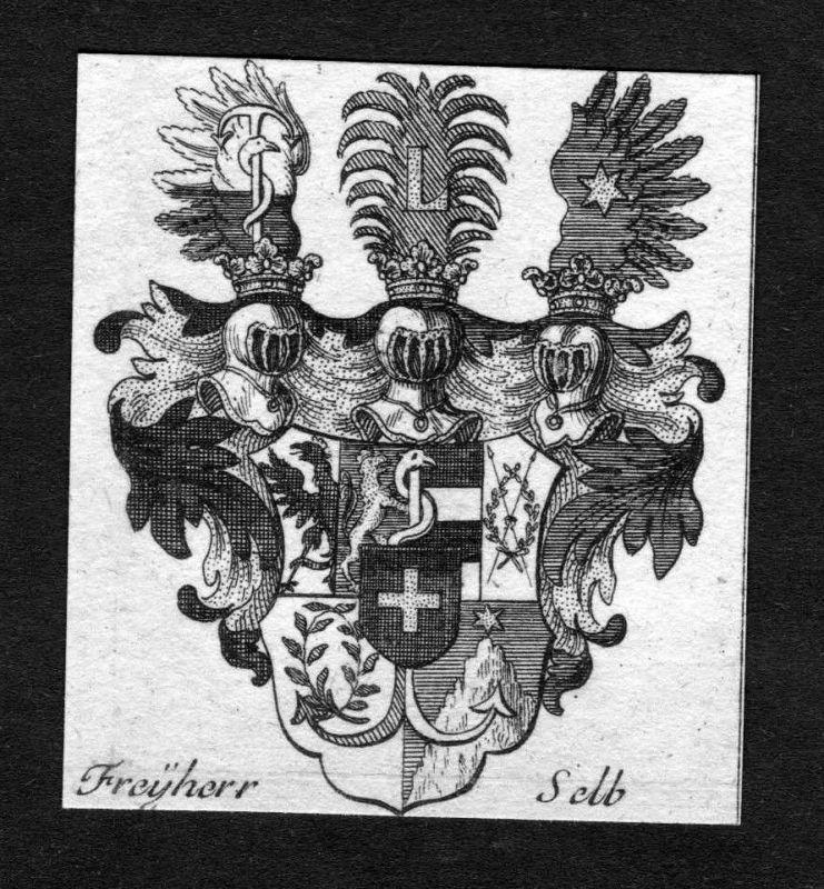 1750 - Selb Wappen Adel coat of arms heraldry Heraldik Kupferstich