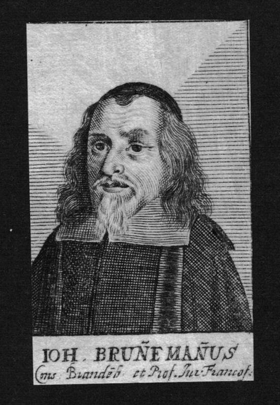 1680 - Johann Brunnemann Jurist lawyer Professor Frankfurt Kupferstich Portrait