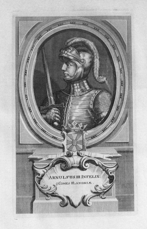 1735 - Arnulf III. von Flandern Flandre Portrait gravure engraving Kupferstich