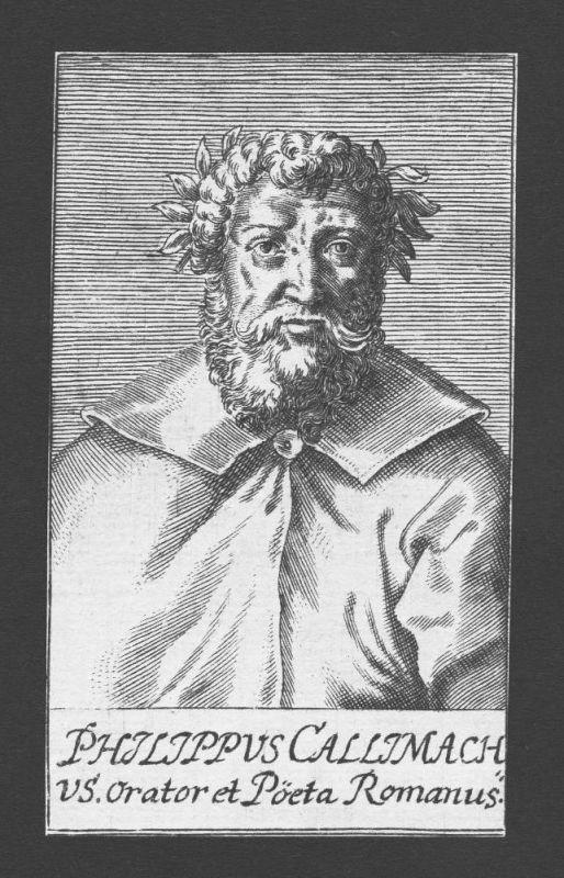 1680 - Filippo Buonaccorsi Humanist Dichter poet Roma Italy Kupferstich Portrait