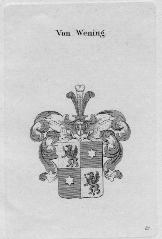 1820- Wening Wappen Adel coat of arms heraldry Heraldik crest Kupferstich