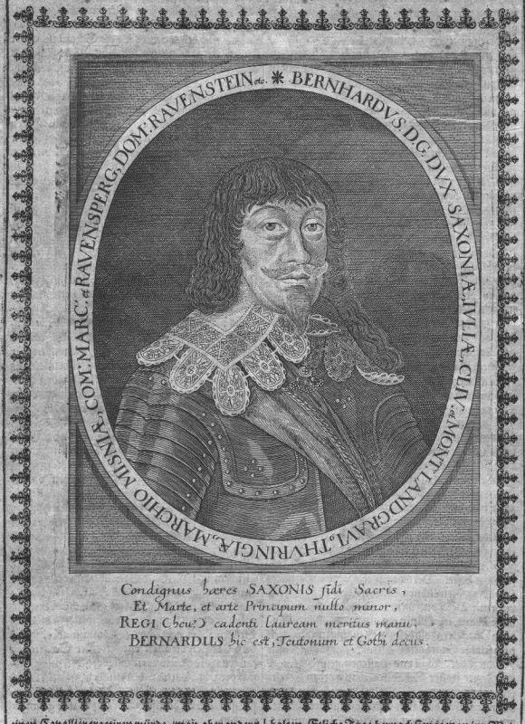 1640 - Bernhard von Sachsen-Weimar Feldherr Portrait Kupferstich engraving