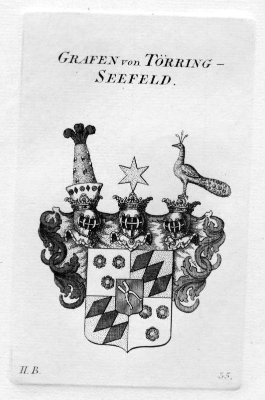 1820 - Törring Seefeld Wappen Adel coat of arms heraldry Heraldik Kupferstich