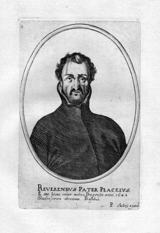 Ca. 1650 Georg Franz Plachy Plackius Praha Portrait Kupferstich antique print