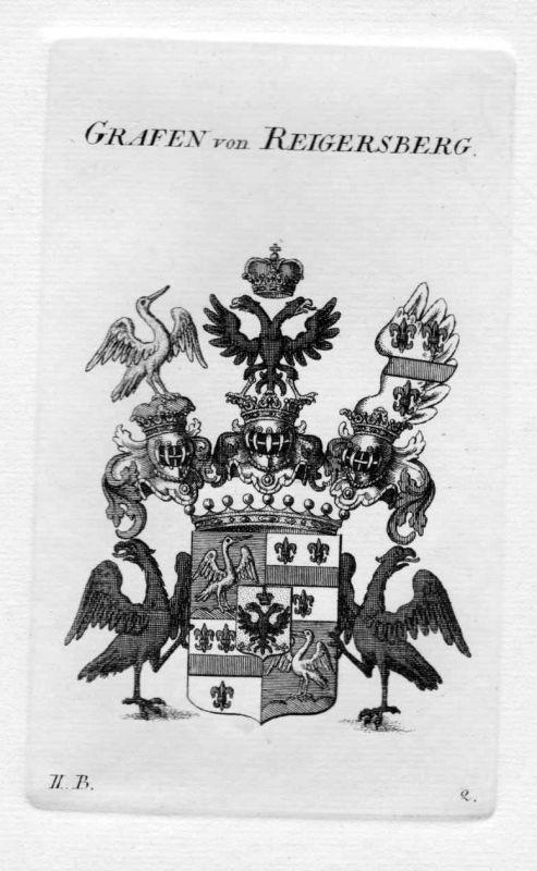 1820 - Reigersberg Wappen Adel coat of arms heraldry Heraldik Kupferstich