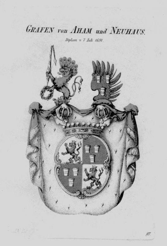 1820 - Aham Neuhaus Wappen Adel coat of arms heraldry Heraldik crest Kupfe 77111
