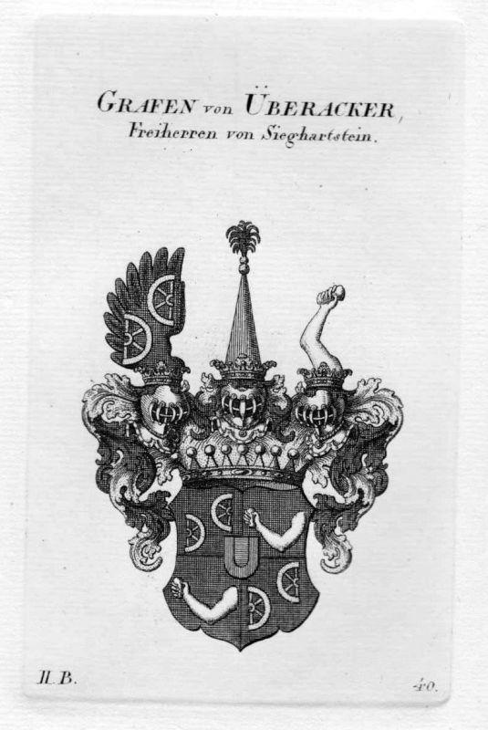 1820 - von Überacker Wappen Adel coat of arms heraldry Heraldik Kupferstich
