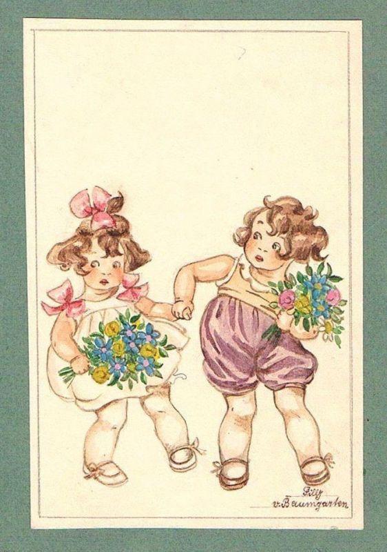 Kinder children Mädchen Tilly von Baumgarten-Haindl Zeichnung drawing 78059
