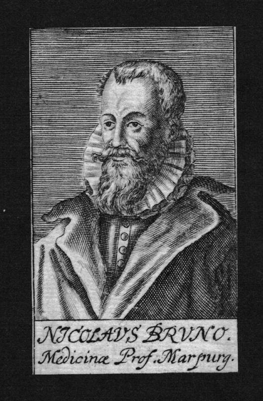 1680 - Nicolaus Bruno Arzt doctor Professor Marburg Kupferstich Portrait