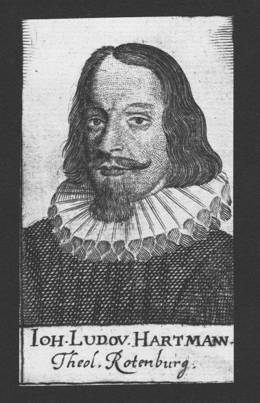 1680 Johann Ludwig Hartmann Theologe Wittenberg Rothenburg Kupferstich Portrait
