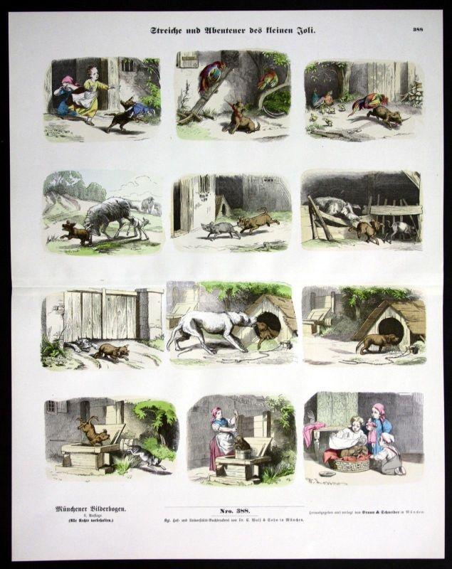 1890 Hund Hunde Kinder Streich Streiche Spiel spielen Münchener Bilderbogen