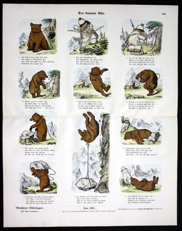 1890 Der dumme Bär Braunbär bear Jagd Münchener Bilderbogen Bildergeschichte