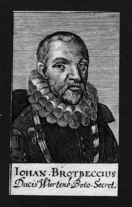1680 - Johann Brodbeck Jurist lawyer Professor Württemberg Kupferstich Portrait