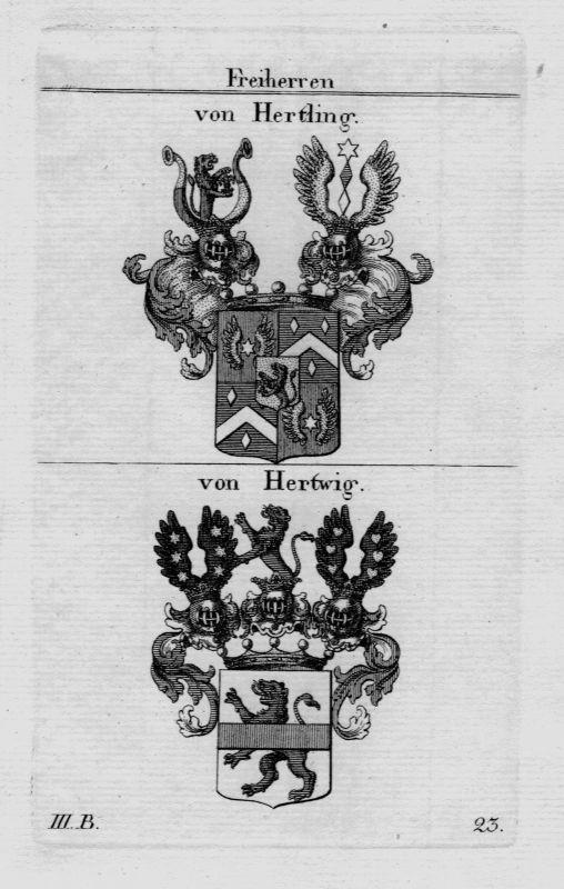 1820- Hertling Hertwig Wappen Adel coat of arms heraldry Heraldik Kupferstich