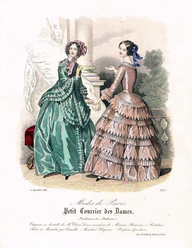 1848 Biedermeier Mode Kupferstich victorian fashion antique print etching  89755
