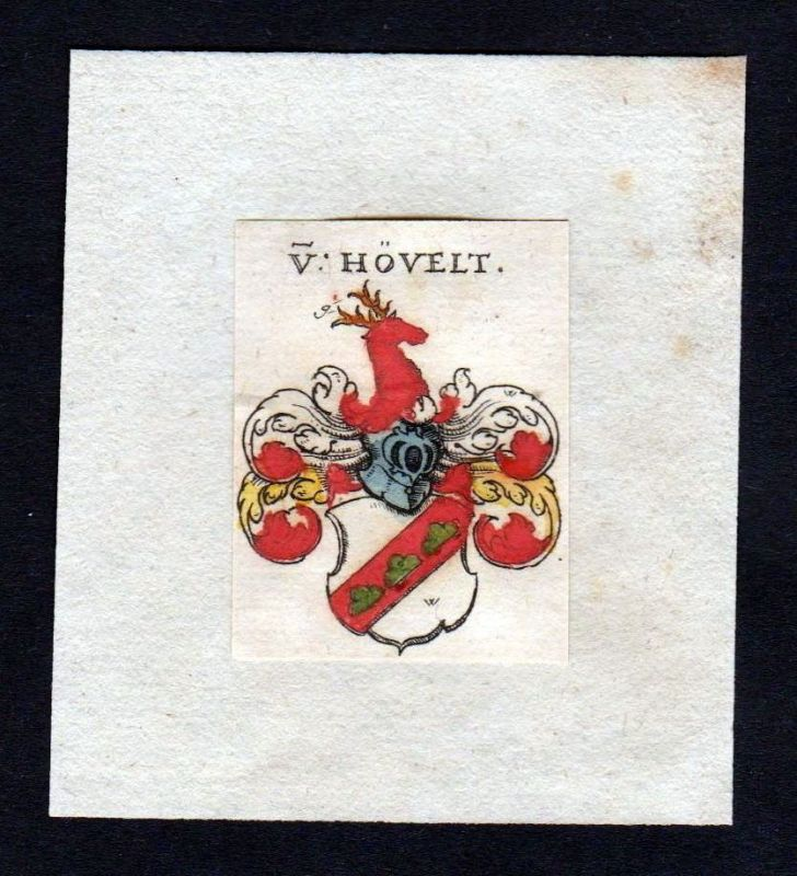 17. Jh. Hövelt Hoevelt Wappen Adel coat of arms heraldry Heraldik Kupferstich