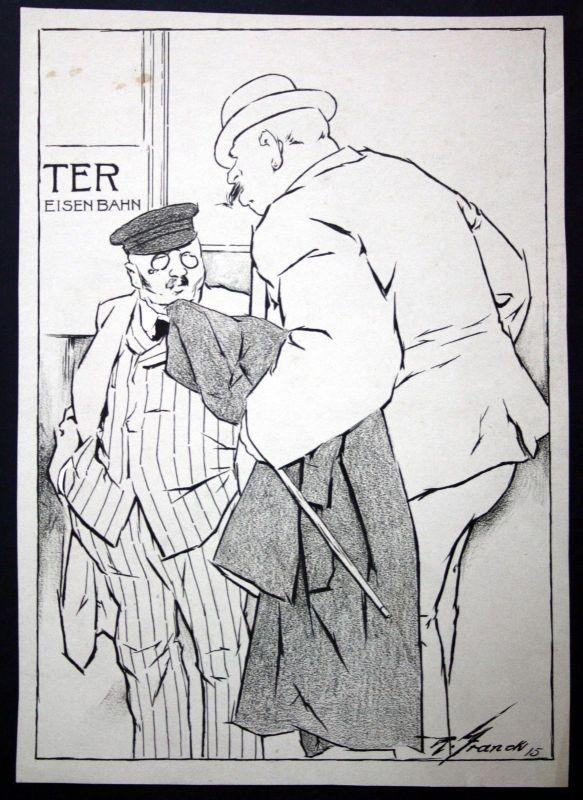 1915 Zeichnung München signiert Franck Eisenbahn Geschäftsmann Hut Mode Mantel