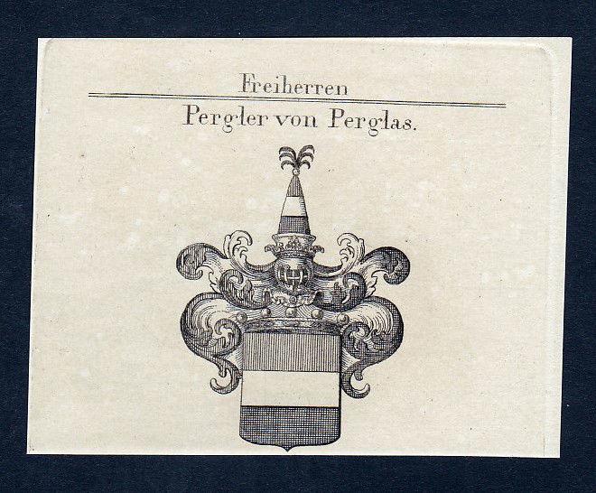 1820 Pergler Perglas Böhmen Wappen Adel coat of arms Kupferstich engraving