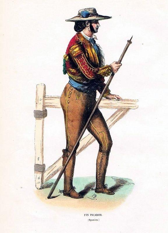 1845 - Picardor Espana Spanien Stierkampf Trachten Holzstich costumes antique