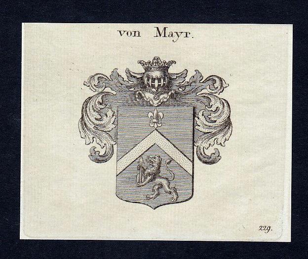 1820 Mayr Meyer Meier Maier Mayer Wappen Adel coat of arms Kupferstich engraving