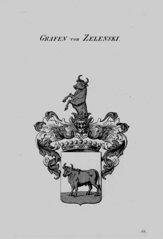 1820 - Zelenski Wappen Adel coat of arms heraldry Heraldik crest Kupferstich