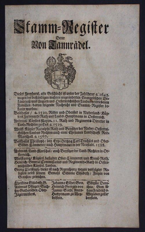 1720 - Truchseß Tannrädel Ahnentafel Stammbaum Genealogie Wappen family tree