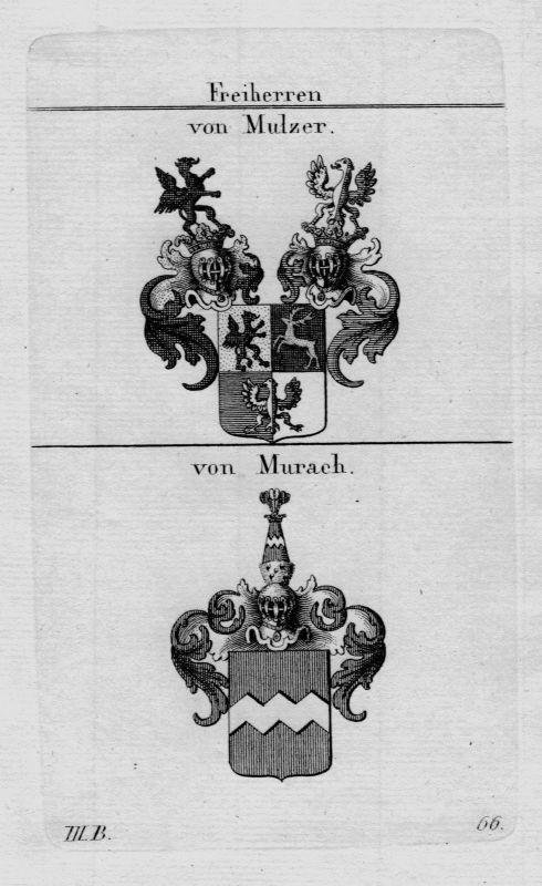 1820 - Mulzer Murach Wappen Adel coat of arms heraldry Heraldik  Kupferstich