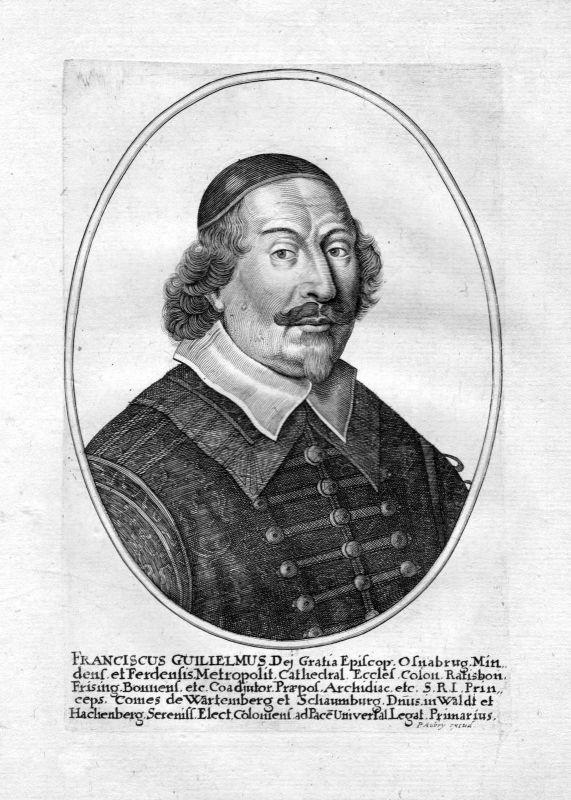 1650 Franz Wilhelm von Wartenberg Regensburg Portrait Kupferstich antique print