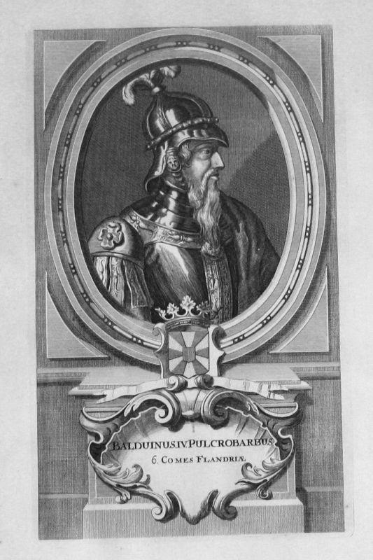 1735 - Balduin III. von Flandern Flandre Portrait gravure engraving Kupferstich