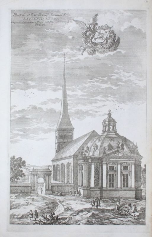 1710 - Floda Kyrka Södermanland Strängnäs sweden Kupferstich Dahlberg engraving