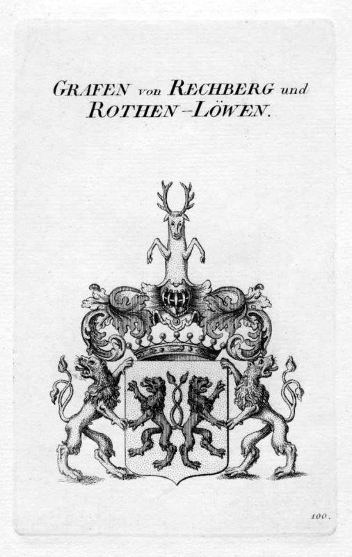 1820 Rechberg Rothen Löwen Wappen coat of arms heraldry Heraldik Kupferstich