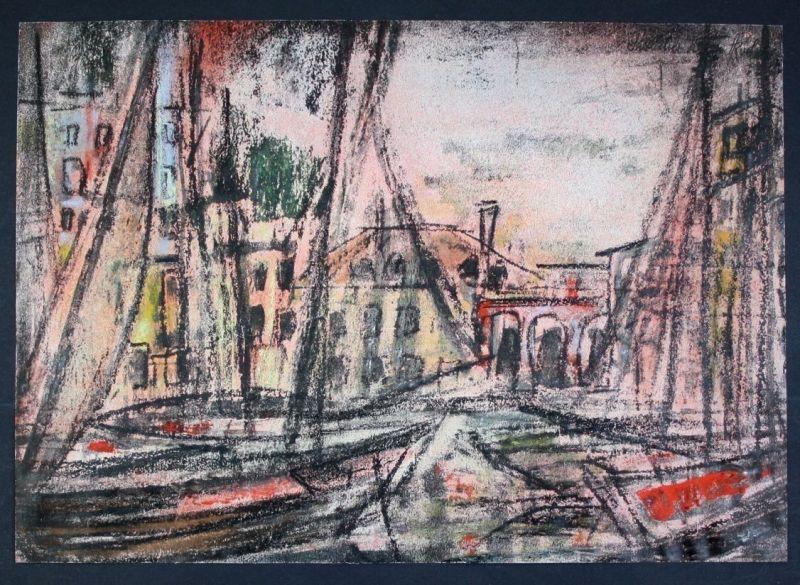 Ca. 1950 - Südlicher Hafen Original Aquarell Pastell Zeichnung signiert