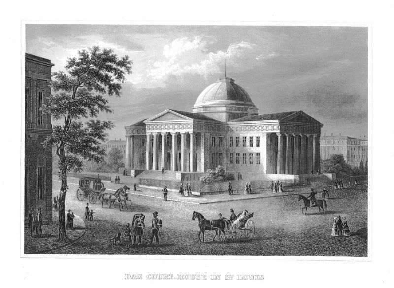 1840 - Court-House in St.Louis Missouri Amerika Original Stahlstich engraving