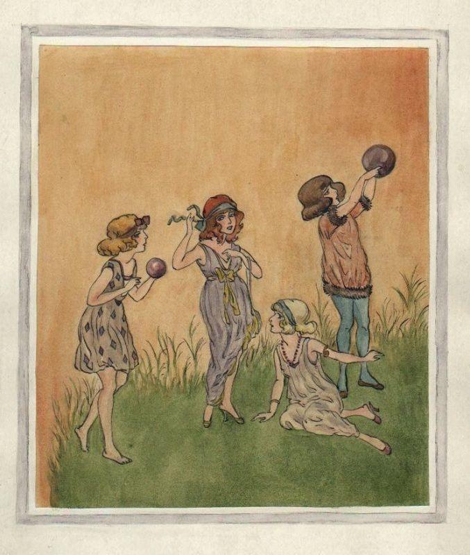 Kinder Mädchen Ball spielen Spiel Tilly von Baumgarten-Haindl Zeichnung drawing