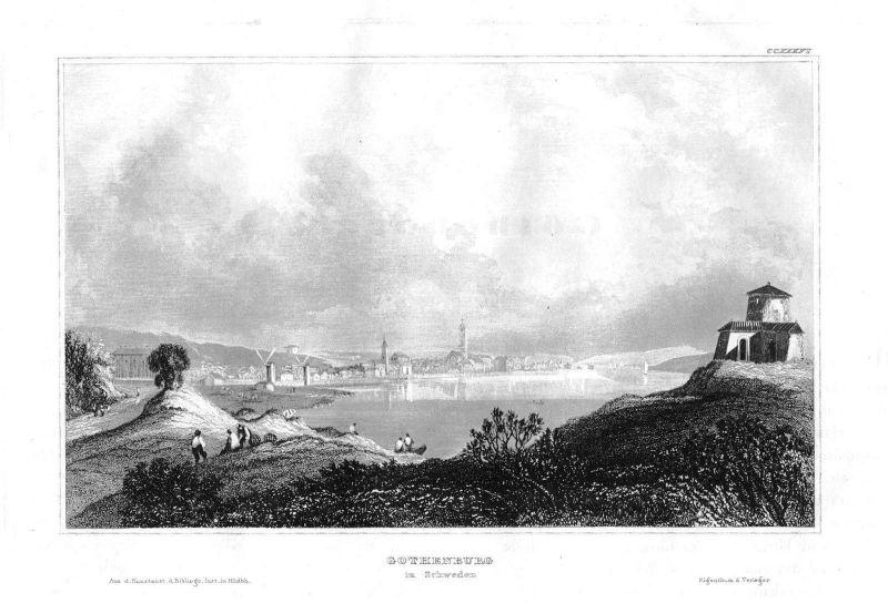 1840 - Göteborg Västra Götalands län Sweden Schweden Stahlstich engraving