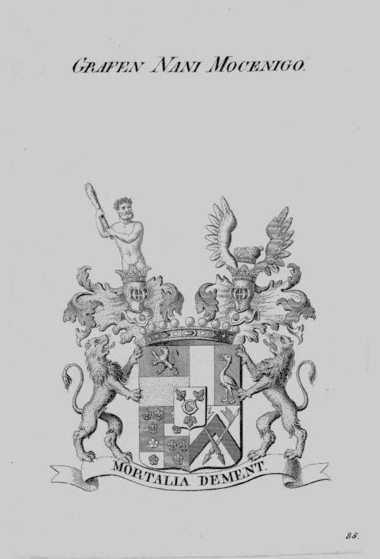 1820 Nani Mocenigo Wappen Adel coat of arms heraldry Heraldik crest Kupferstich
