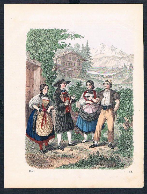 1859 - Schweiz Switzerland Suisse Tracht Trachten costumes Original Lithographie