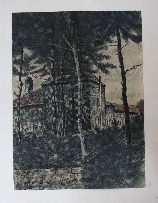 Willy Reue Schloß Original Zeichnung signiert