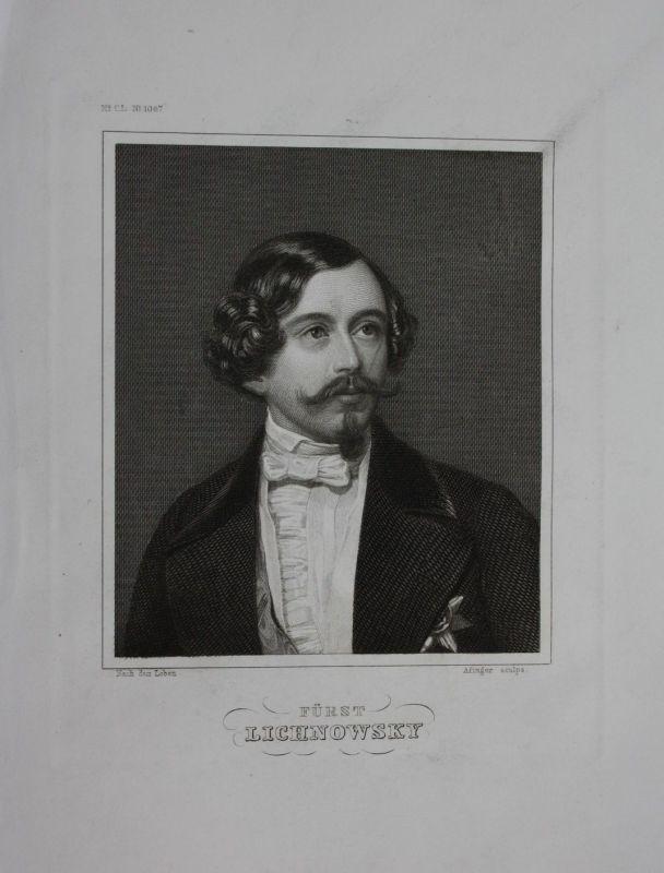1850 - Felix Fürst von Lichnowsky Graf Werdenberg engraving Stahlstich Portrait