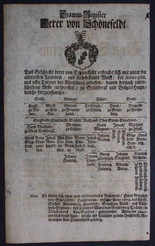 1720 - Schönefeld Schönefeldt Ahnentafel Stammbaum Genealogie Wappen family tree