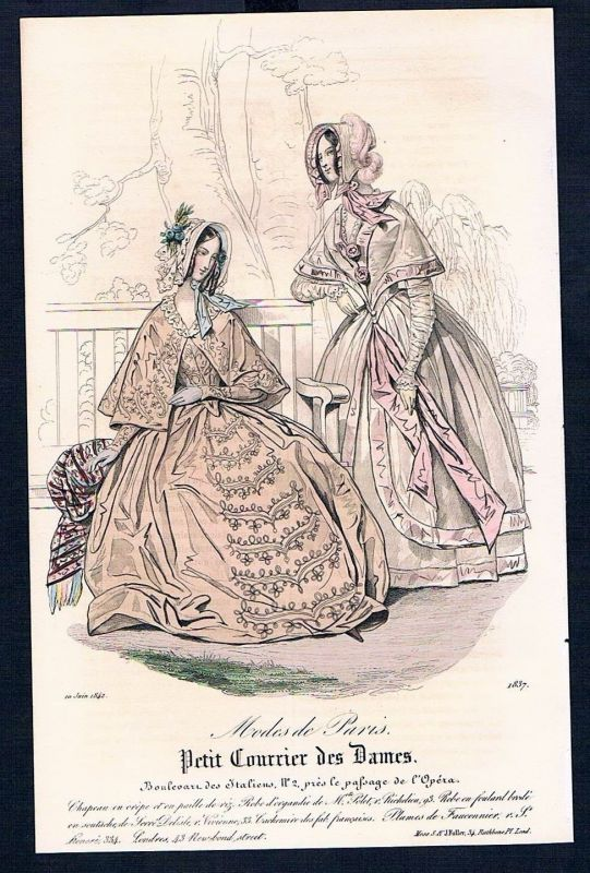 1842 Biedermeier Mode Kupferstich victorian fashion antique print etching Paris
