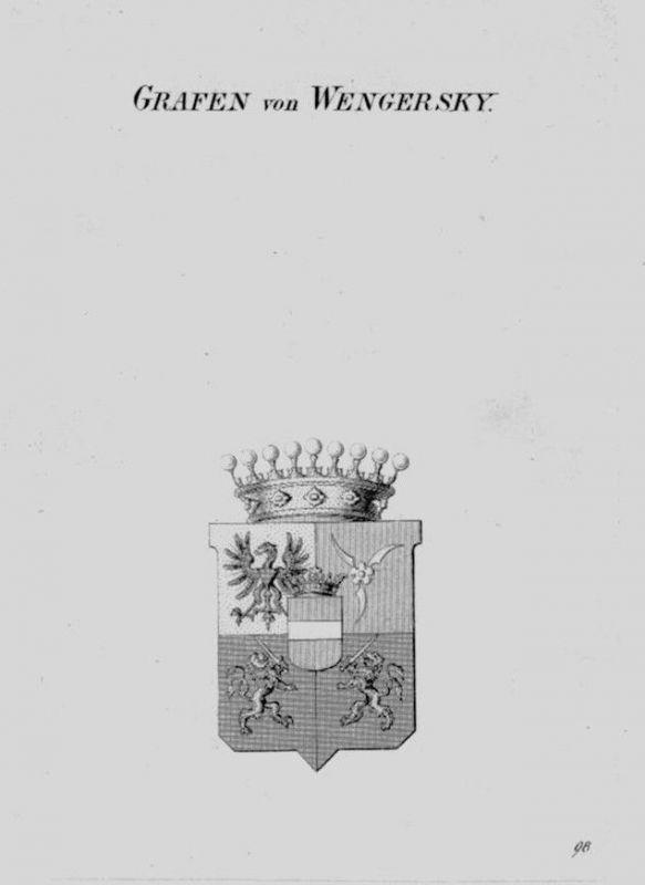 1820 - Wengersky Wappen Adel coat of arms heraldry Heraldik crest Kupferstich
