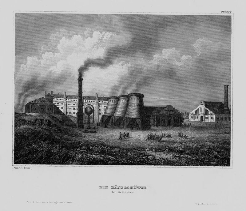 1840 - Königshütte Schlesien Polen Poland Tschechien engraving Stahlstich