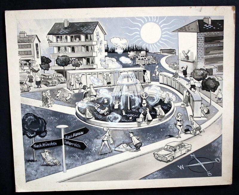 1960 - Bad Füssing Therme Bad Kurort Karikatur Zeichnung 60er Jahre