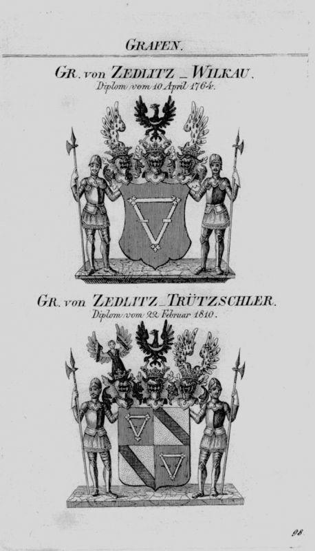 1820 Zedlitz Wilkau Trützscher Wappen coat of arms heraldry Heraldik Kupferstich