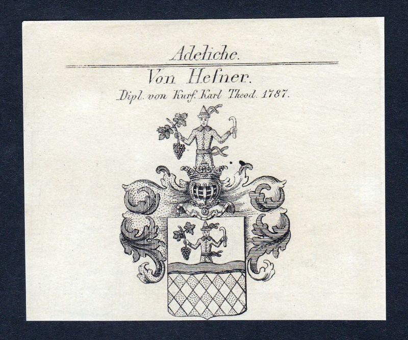 1820 Hefner Karl Theodor Wappen Adel coat of arms Heraldik Kupferstich engraving