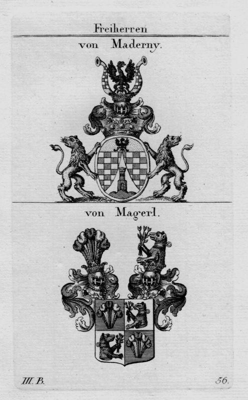 1820 - Maderny Magerl Wappen Adel coat of arms heraldry Heraldik Kupferstich